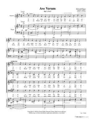 Sheet Music Ave Verum, Op. 2, No. 2