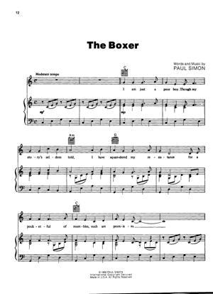 Sheet Music Simon and Garfunkel - The Boxer