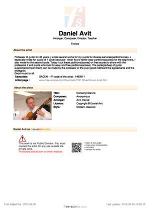 Sheet Music Danse tyrolienne