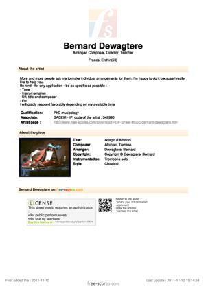 Sheet Music Adagio d'Albinoni