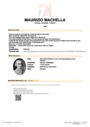 Sheet Music CELEBRE SONATA in DO, per Clavicembalo (Piano, Organo)