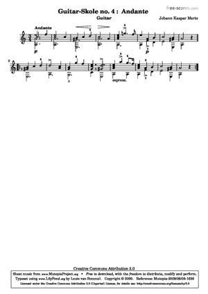 Sheet Music Guitar School no. 4 : Andante