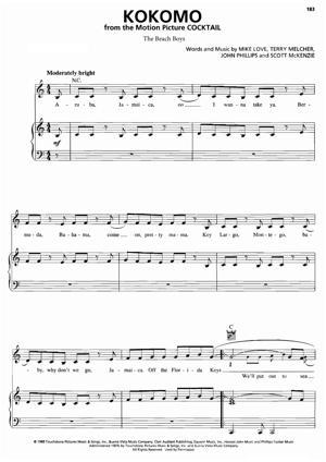 Sheet Music Beach Boys - Kokomo