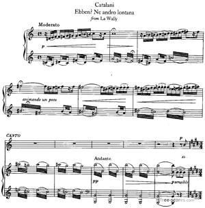 Sheet Music La Wally : Eben? Ne andro lontana