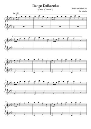 Sheet Music Jun Maeda (from Clannad) - Dango Daikazoku