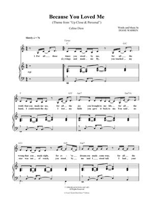 Sheet Music Celine Dion - Because You Loved Me