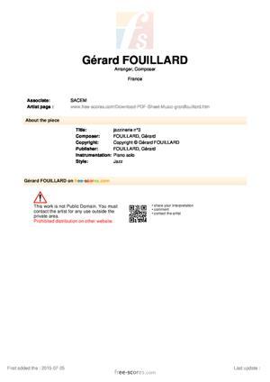 Sheet Music Gérard FOUILLARD - jazzinerie n°3