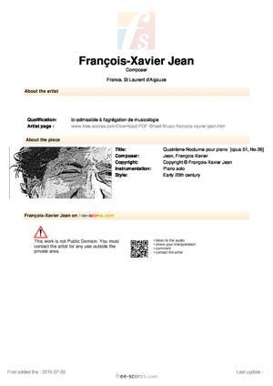 Sheet Music Troisième Nocturne pour piano