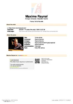 Sheet Music Maxime Raynal - To the infinite