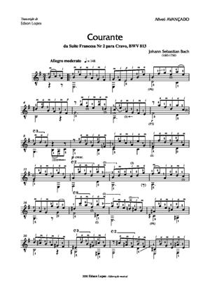 Sheet Music Courante from French Suite No.2
