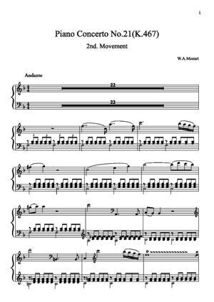 Sheet Music Piano concerto No.21 C 2nd.mov.
