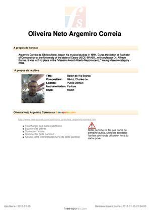 Sheet Music Baron of Rio Branco