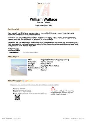 Sheet Music Wiegenlied / Brahms Lullaby
