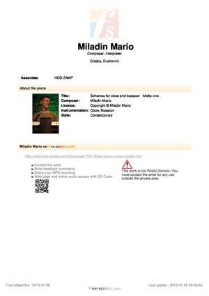 Sheet Music Scherzos for oboe and bassoon - Molto vivo