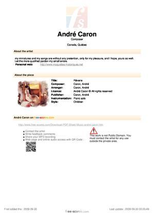 Sheet Music Andre Caron - Rêverie