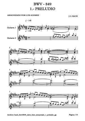 Sheet Music bach bwv0849 clave bien temperado 1 preludio