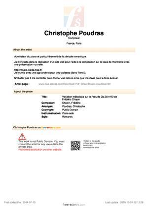 Sheet Music Variation mélodique sur le Prélude Op.28 n°20 de Frédéric Chopin