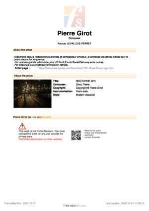 Sheet Music NOCTURNE 02 II