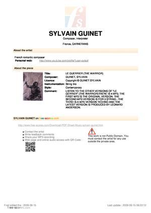 Sheet Music LE GUERRIER (THE WARRIOR)