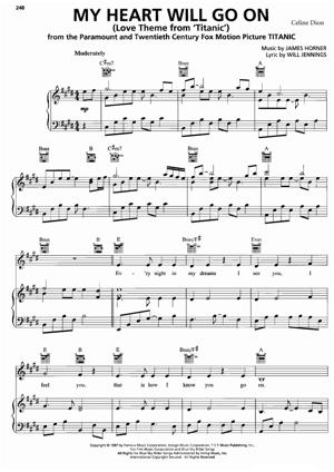 Sheet Music Celine Dion - My Heart Will Go On