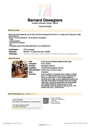 Sheet Music Auld lang syne