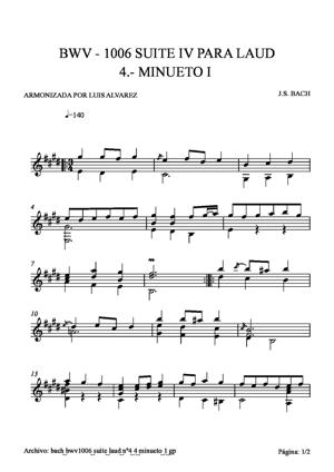 Sheet Music bach bwv1006 suite laud nº4 4 minueto1