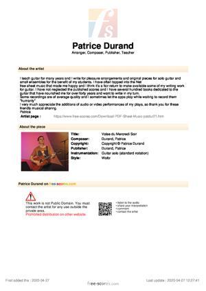 Sheet Music Valse du Mercredi Soir