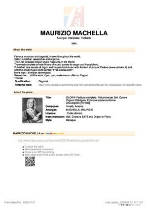 Sheet Music GLORIA Partitura completa. Riduzione per Soli, Coro e Organo Obbligato. Edizione vocale conforme all'autografo