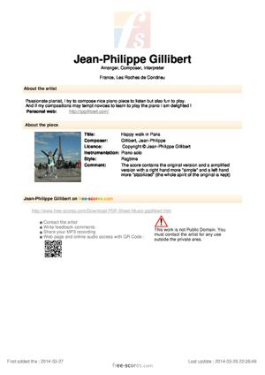 Sheet Music Jean-Philippe Gillibert - Happy walk in Paris