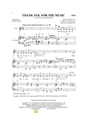 Sheet Music ABBA - Thank You For The Music
