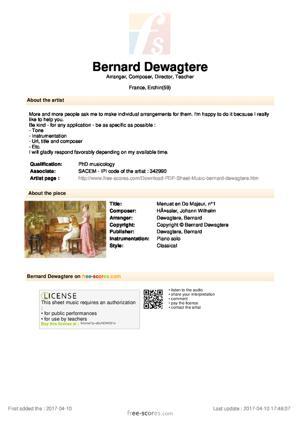 Sheet Music Menuet en Do Majeur, n°1