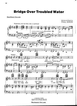 Sheet Music Simon and Garfunkel - Bridge Over Troubled Water