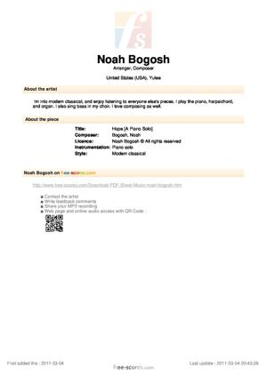 Sheet Music Noah Bogosh - Hope