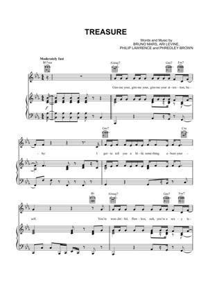 Sheet Music Bruno Mars - Treasure