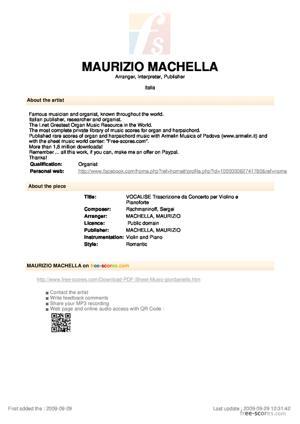 Sheet Music VOCALISE Trascrizione da Concerto per Violino e Pianoforte