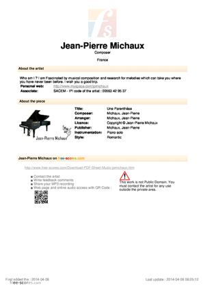 Sheet Music Une Parenthése