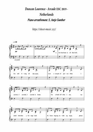 Sheet Music Duncan Laurence - Arcade (Vocal solo)