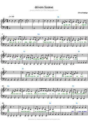 Sheet Music Olivia Rodrigo - Drivers License Piano Sheet Music
